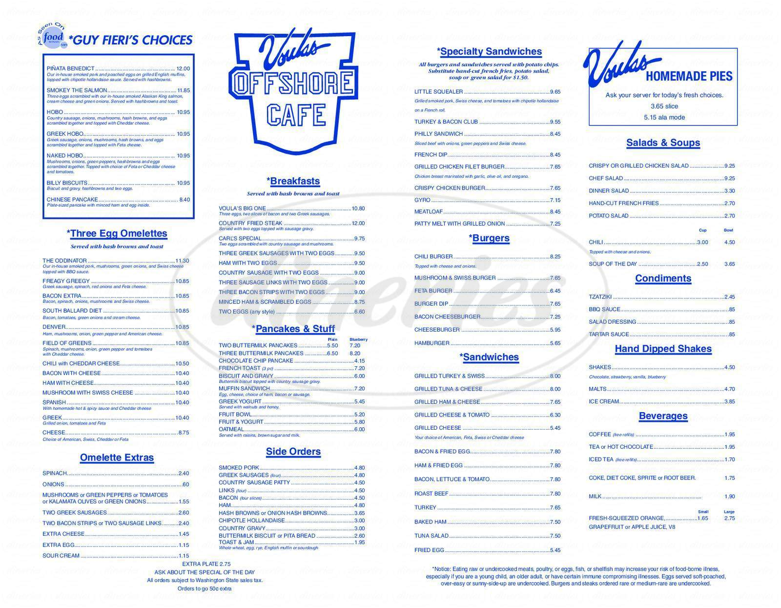 menu for Voula's Offshore Cafe