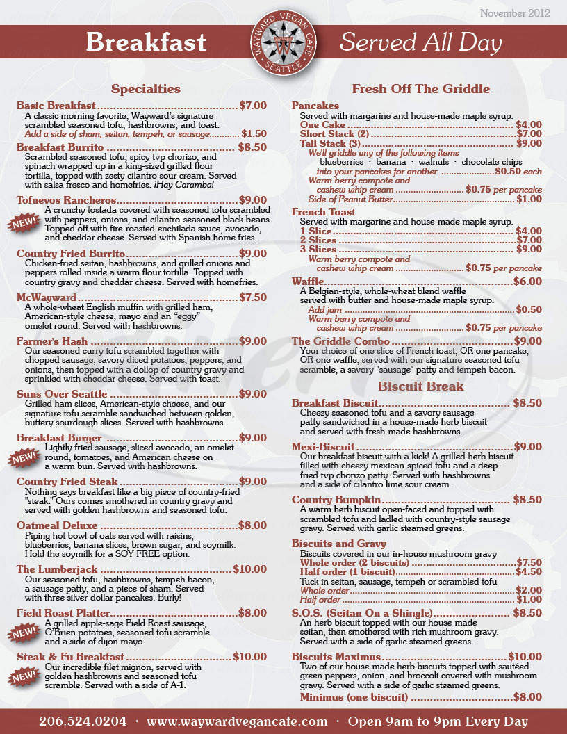 menu for Wayward Vegan Cafe