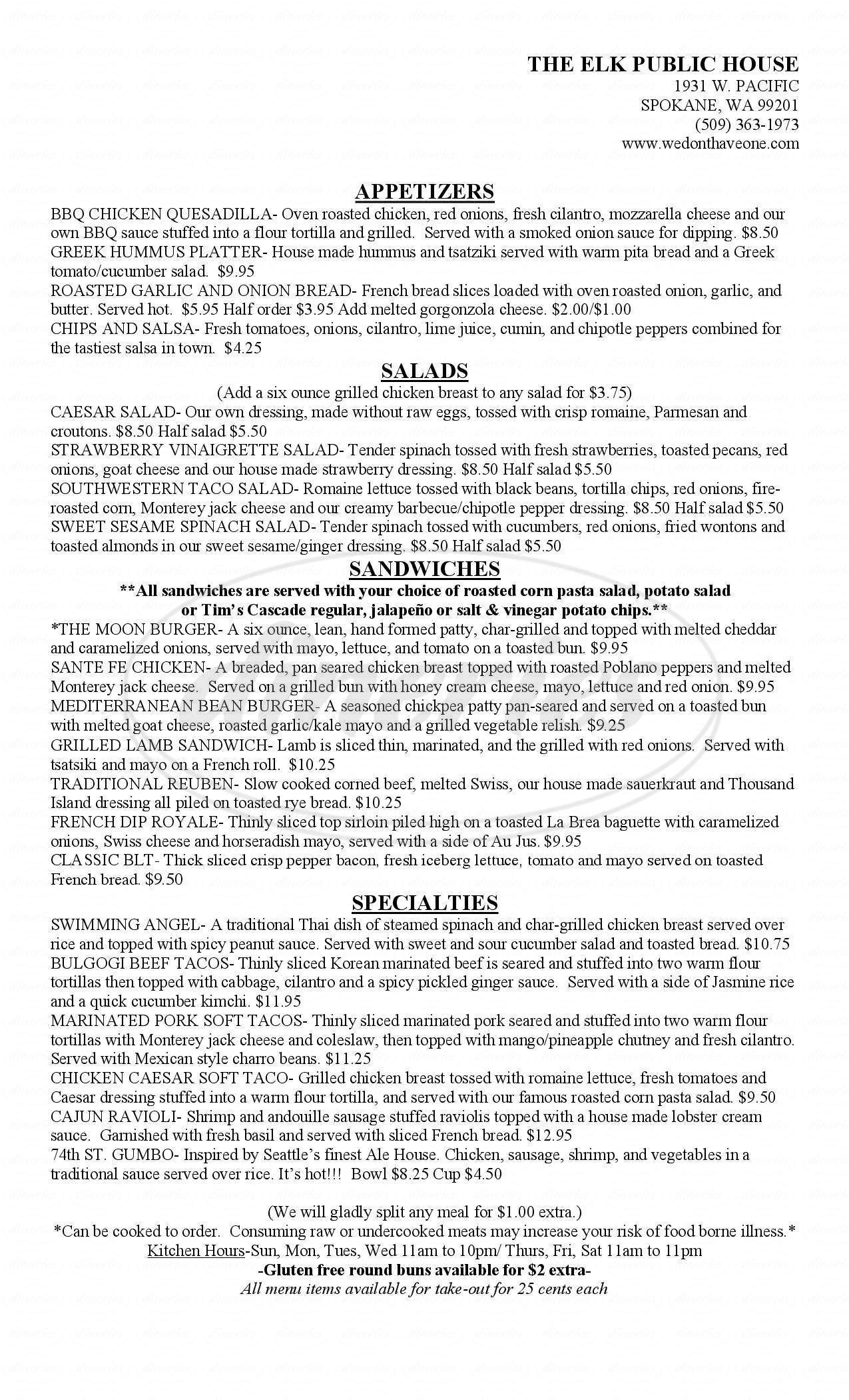 menu for Elk Public House