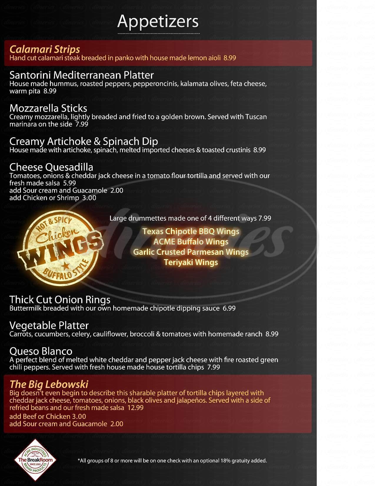 menu for Break Room at ACME Bowl
