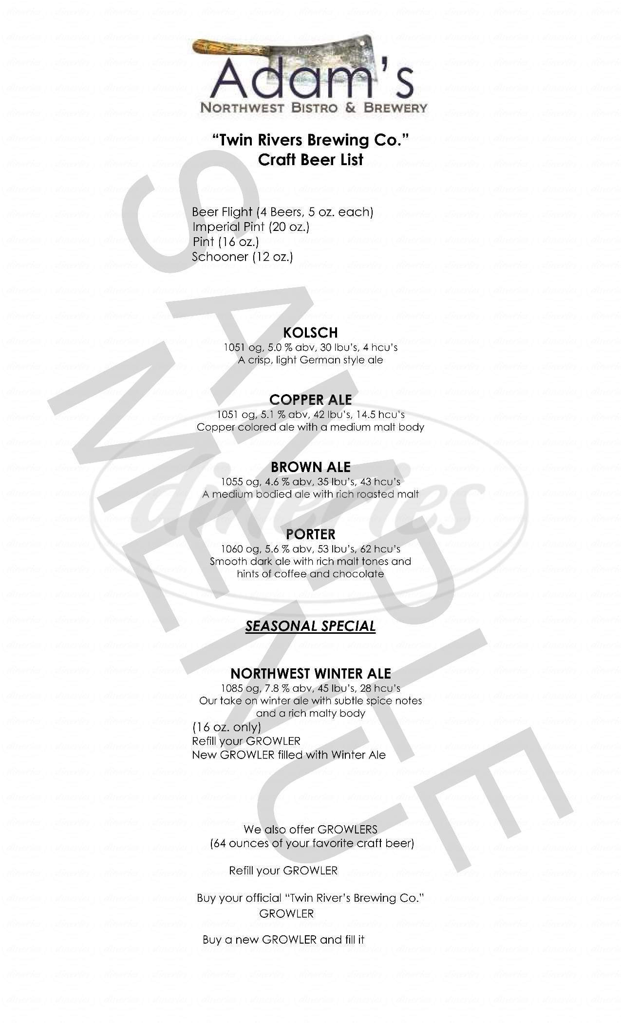 menu for Adam's Northwest Bistro and Brewery