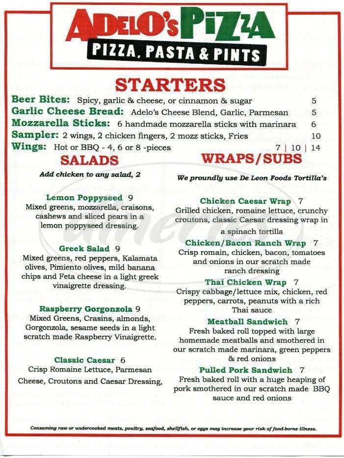 menu for Adelos Pizza