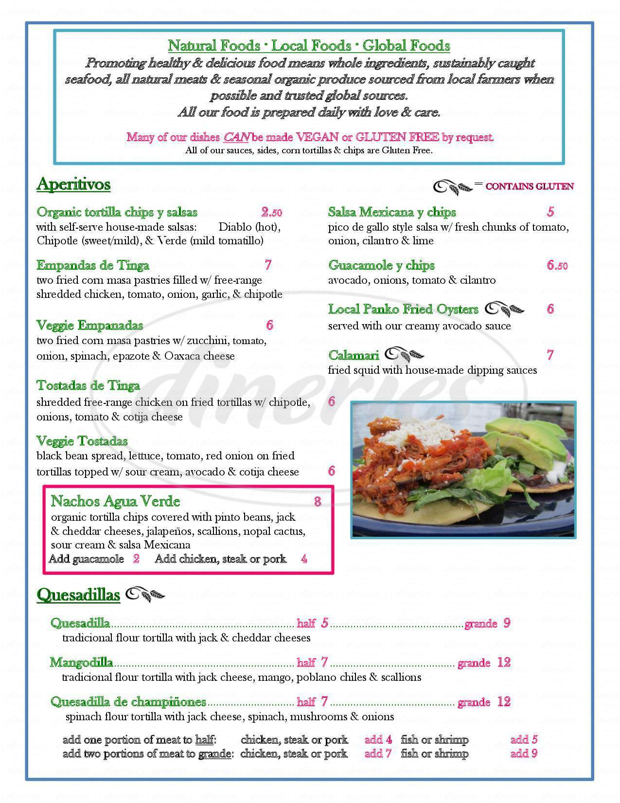 menu for Agua Verde Cafe & Paddle Club