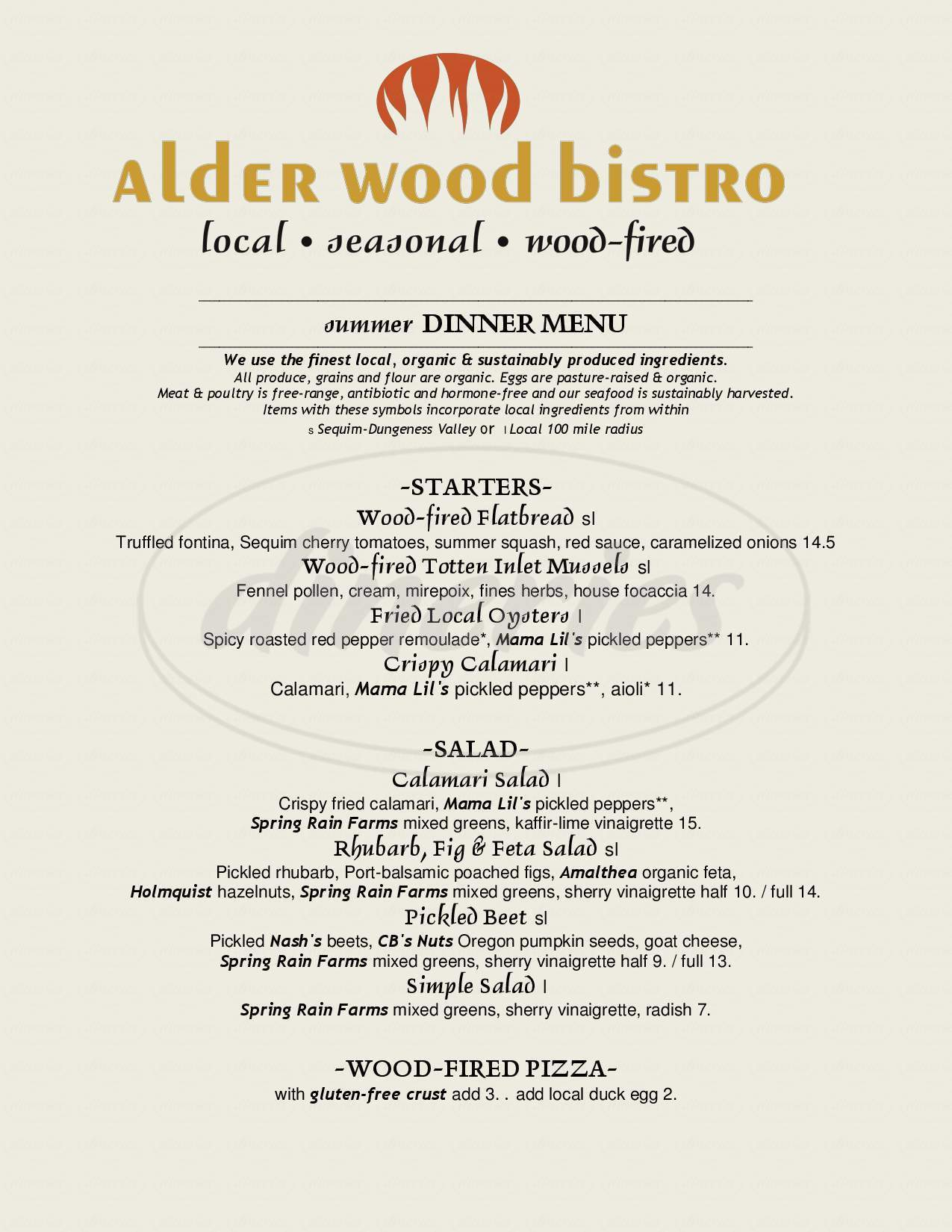 menu for Alder Wood Bistro