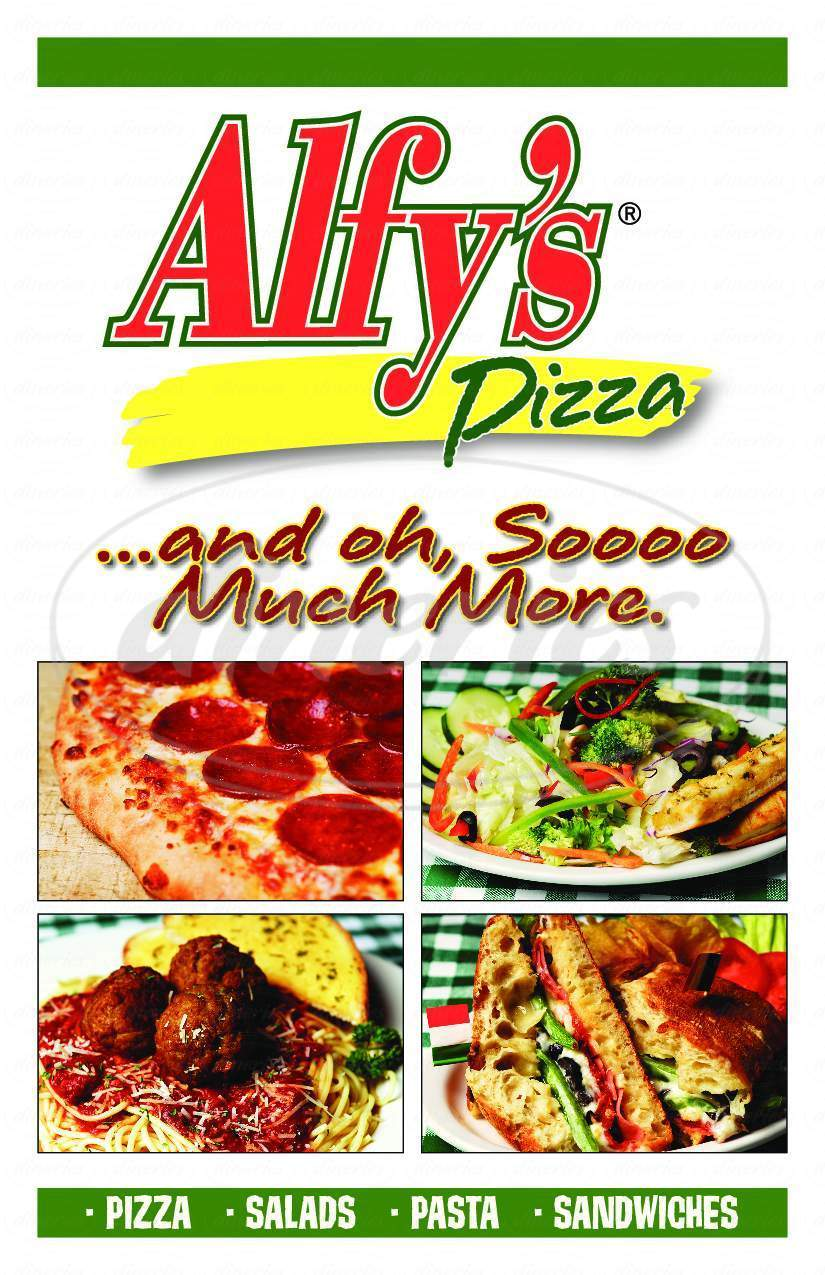 menu for Alfy's Pizza & Sportsbar