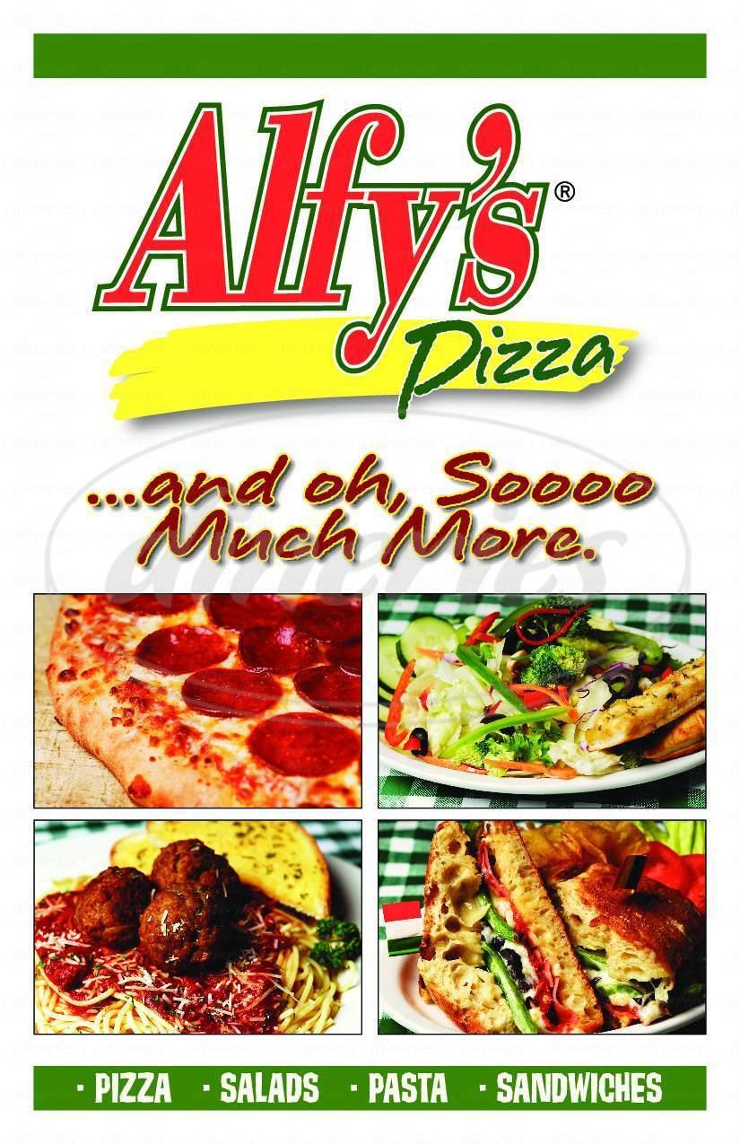 Big menu for Alfy's Pizza, Everett