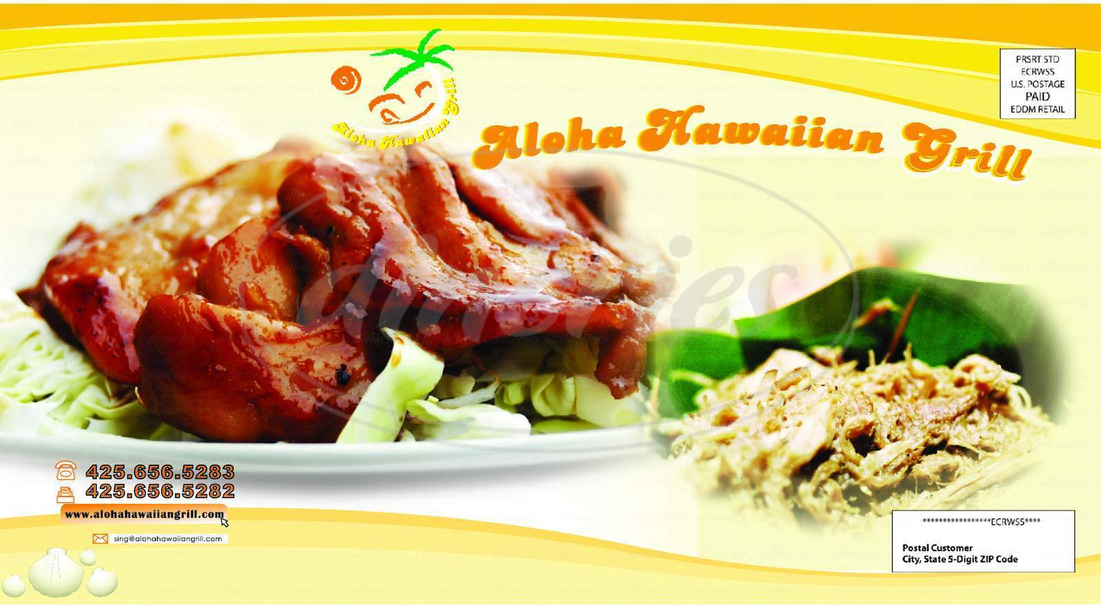 menu for Aloha Hawaiian Grill