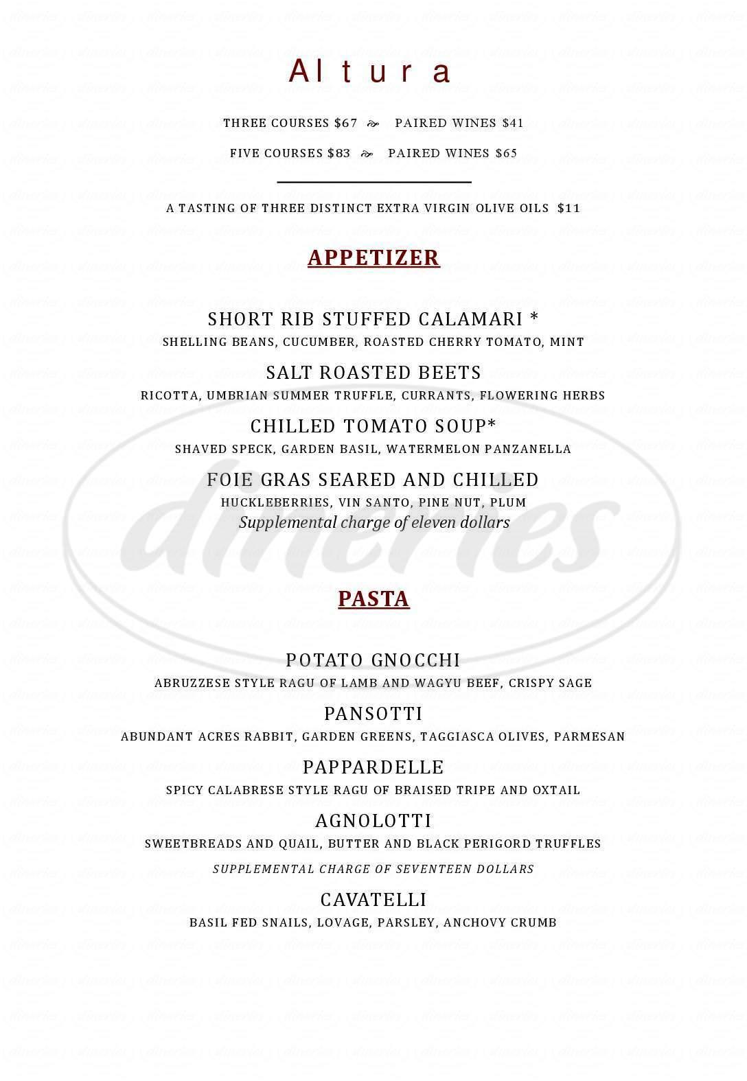 menu for Altura