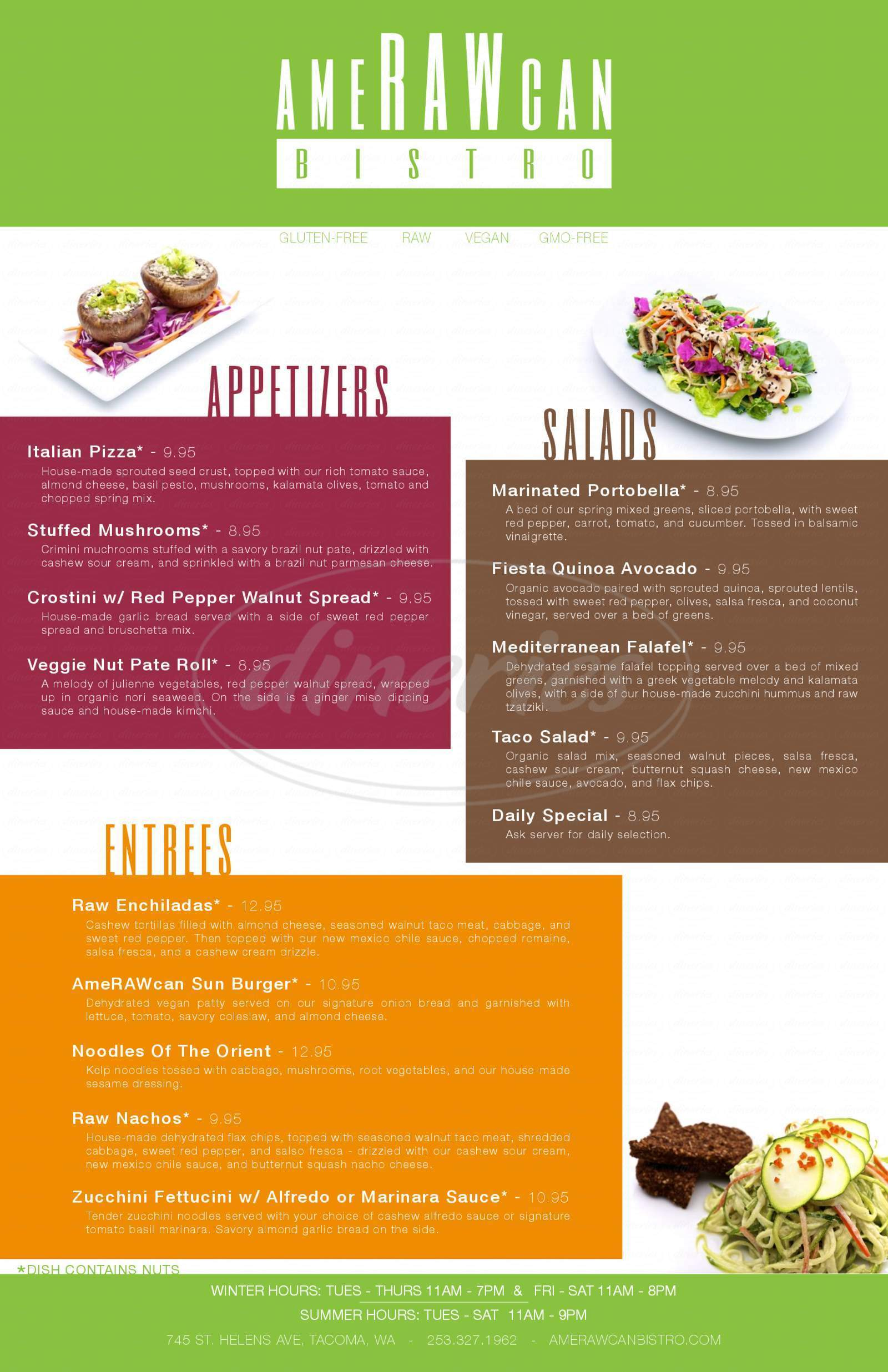 menu for Amerawcan Bistro