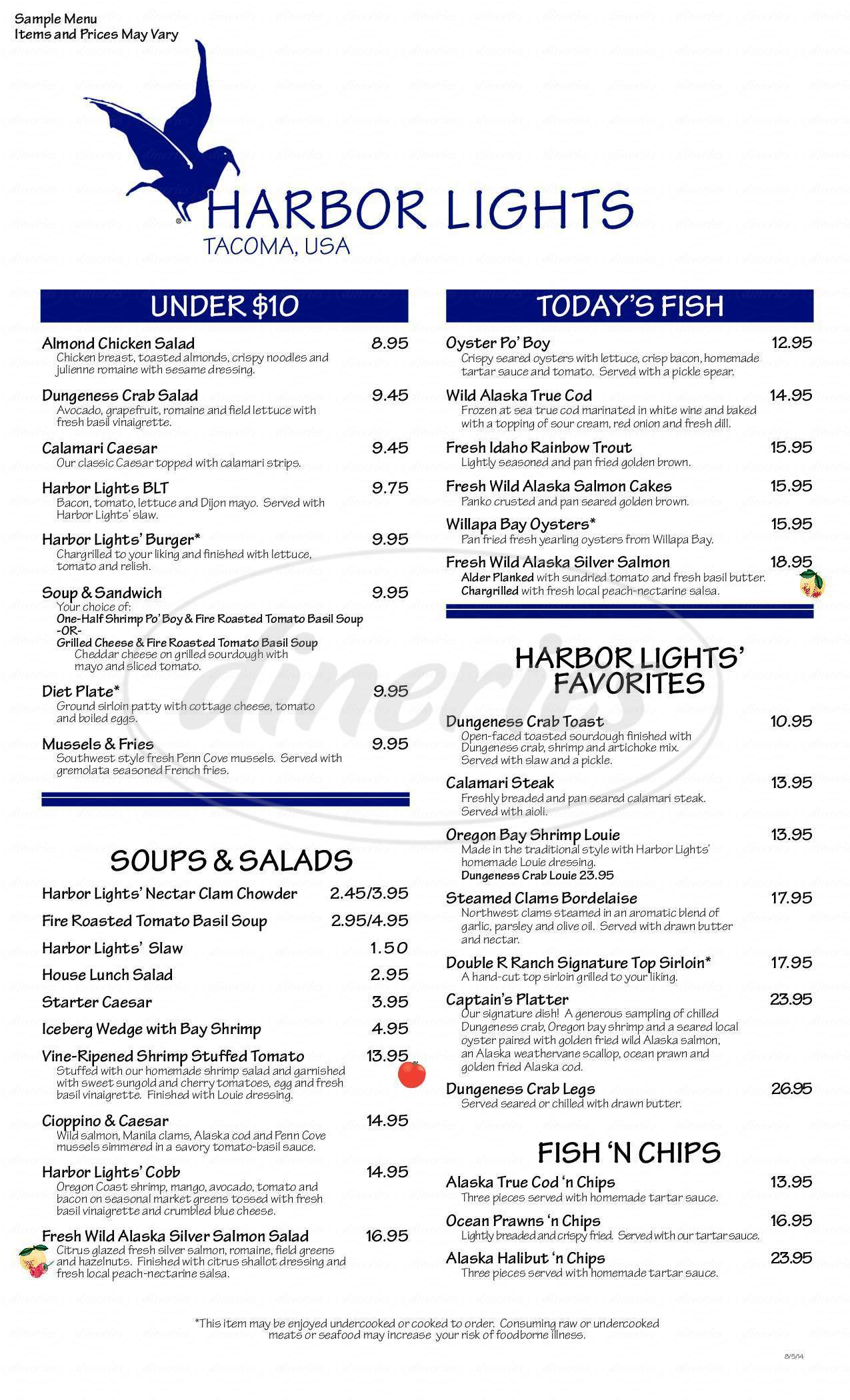 menu for Harbor Lights