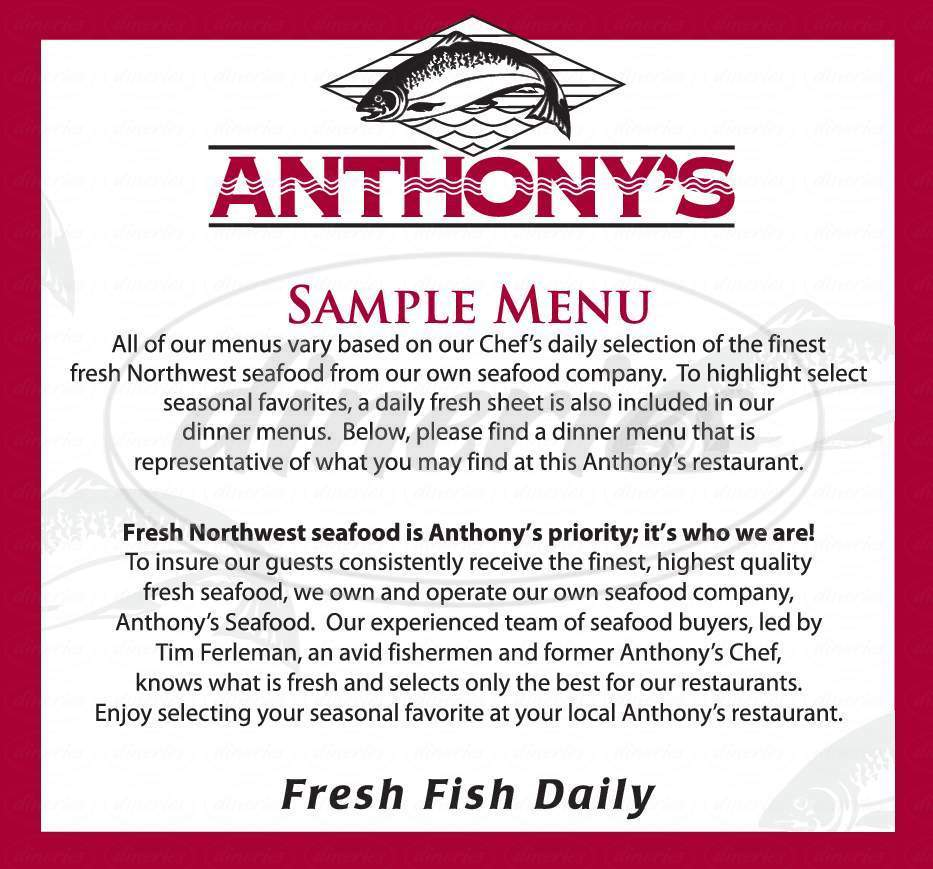 menu for Anthony's HomePort