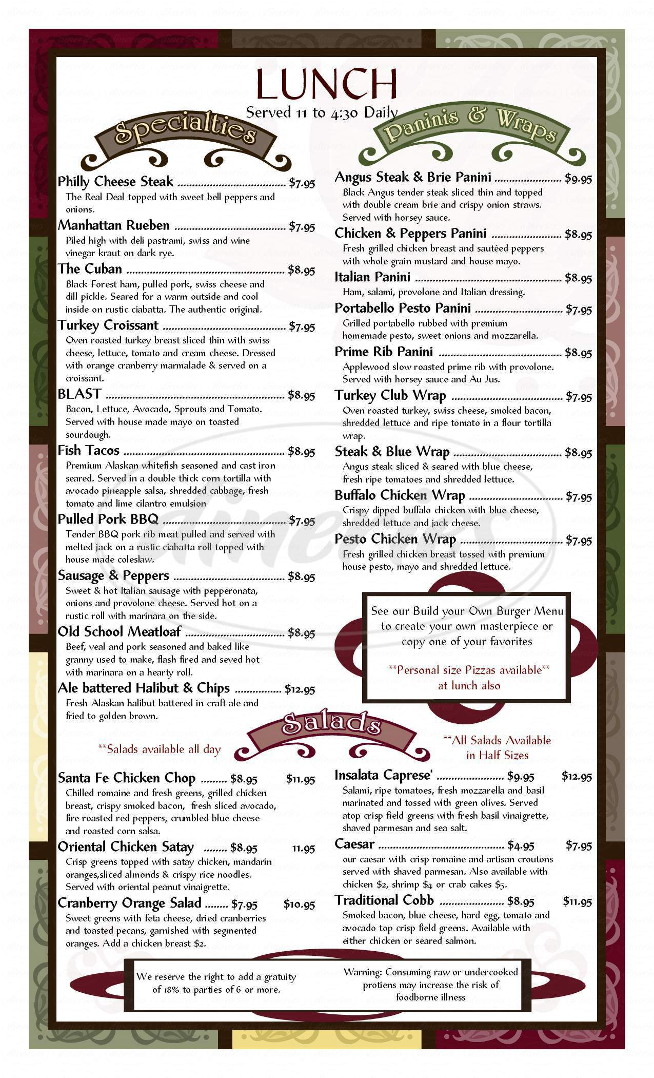 menu for Applewood Grill