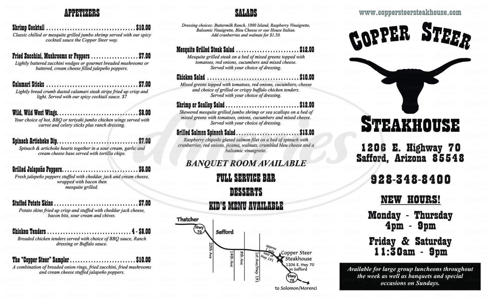 menu for Copper Steer Steakhouse