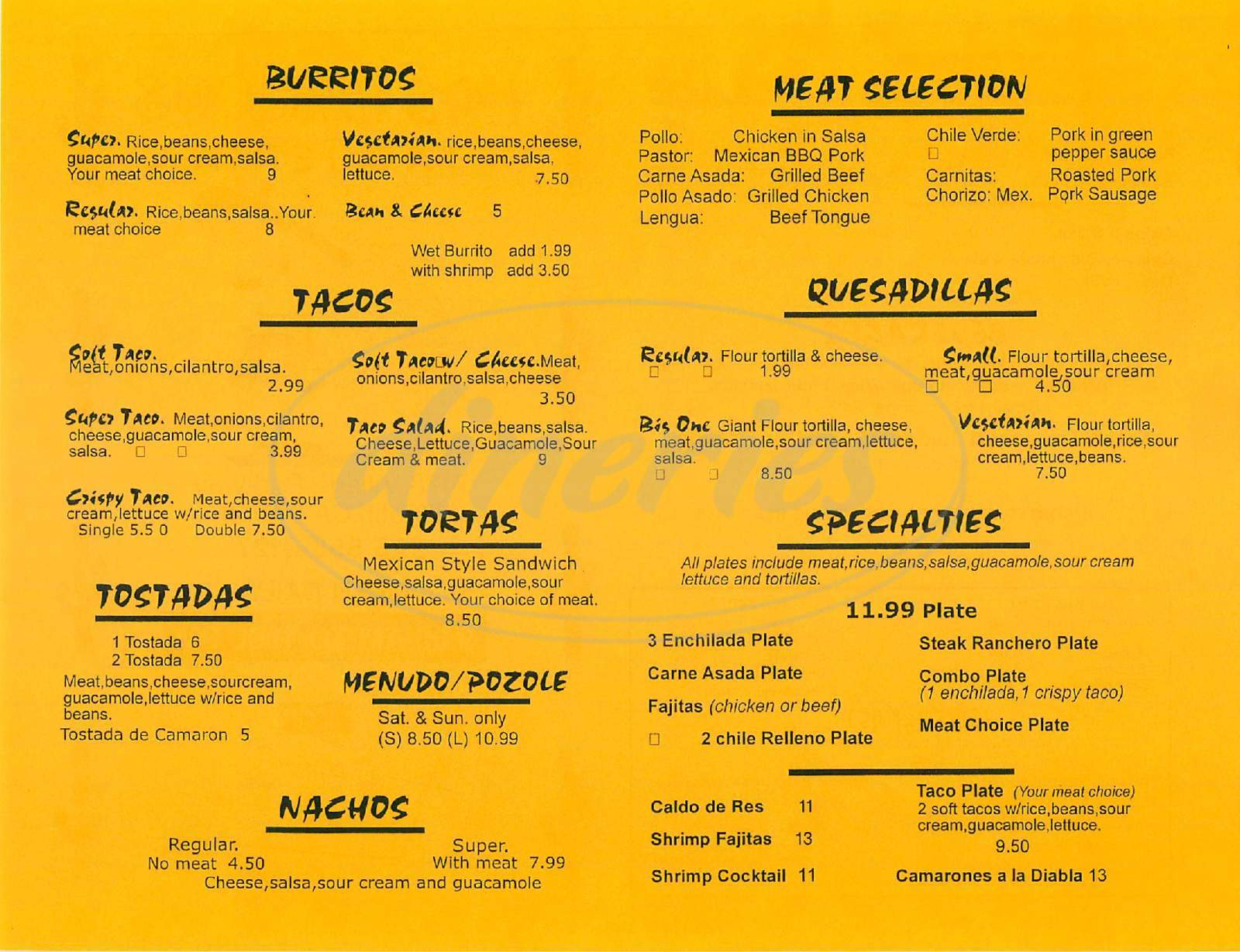 menu for Taqueria Los Pericos
