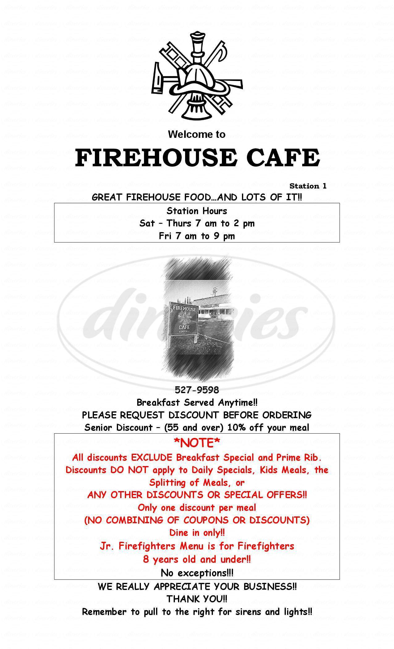 menu for Firehouse Café