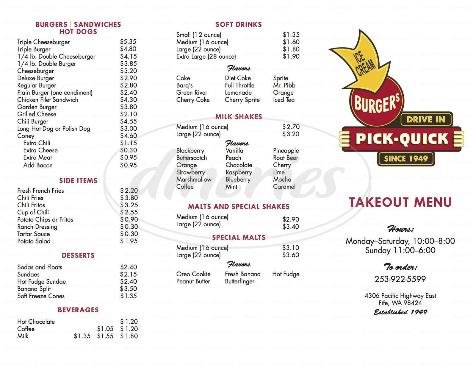 menu for Pick-Quick Drive In