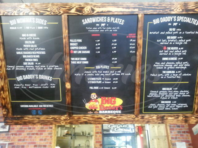 menu for Big Daddys BBQ