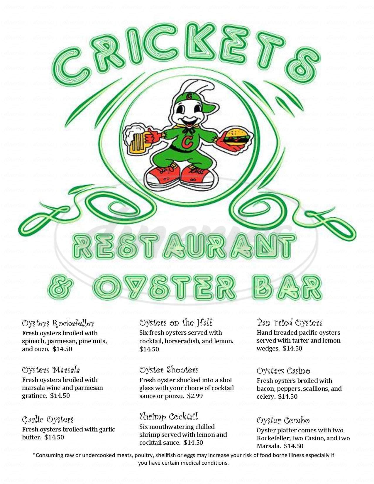 menu for Cricket's Steakhouse & Oyster Bar