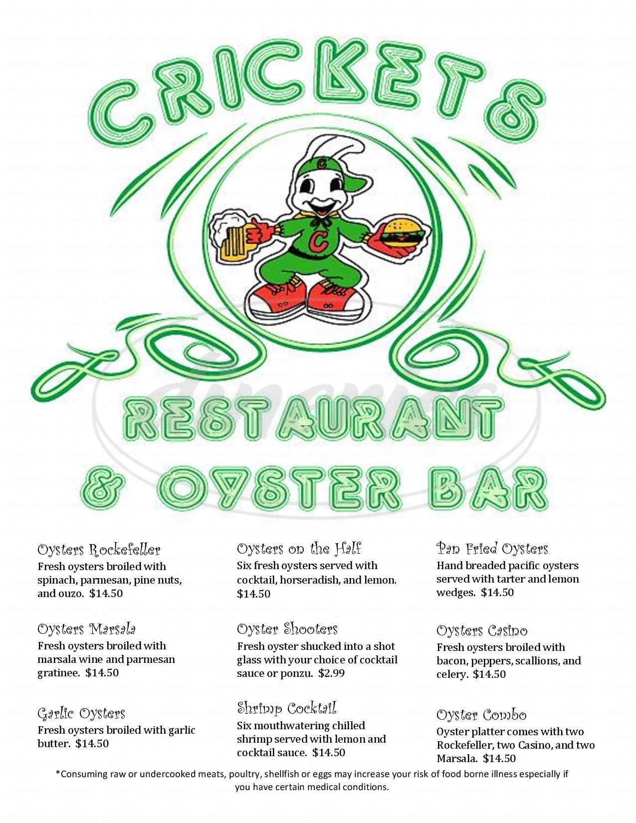 menu for Cricket's Steakhouse & Oyster Bar