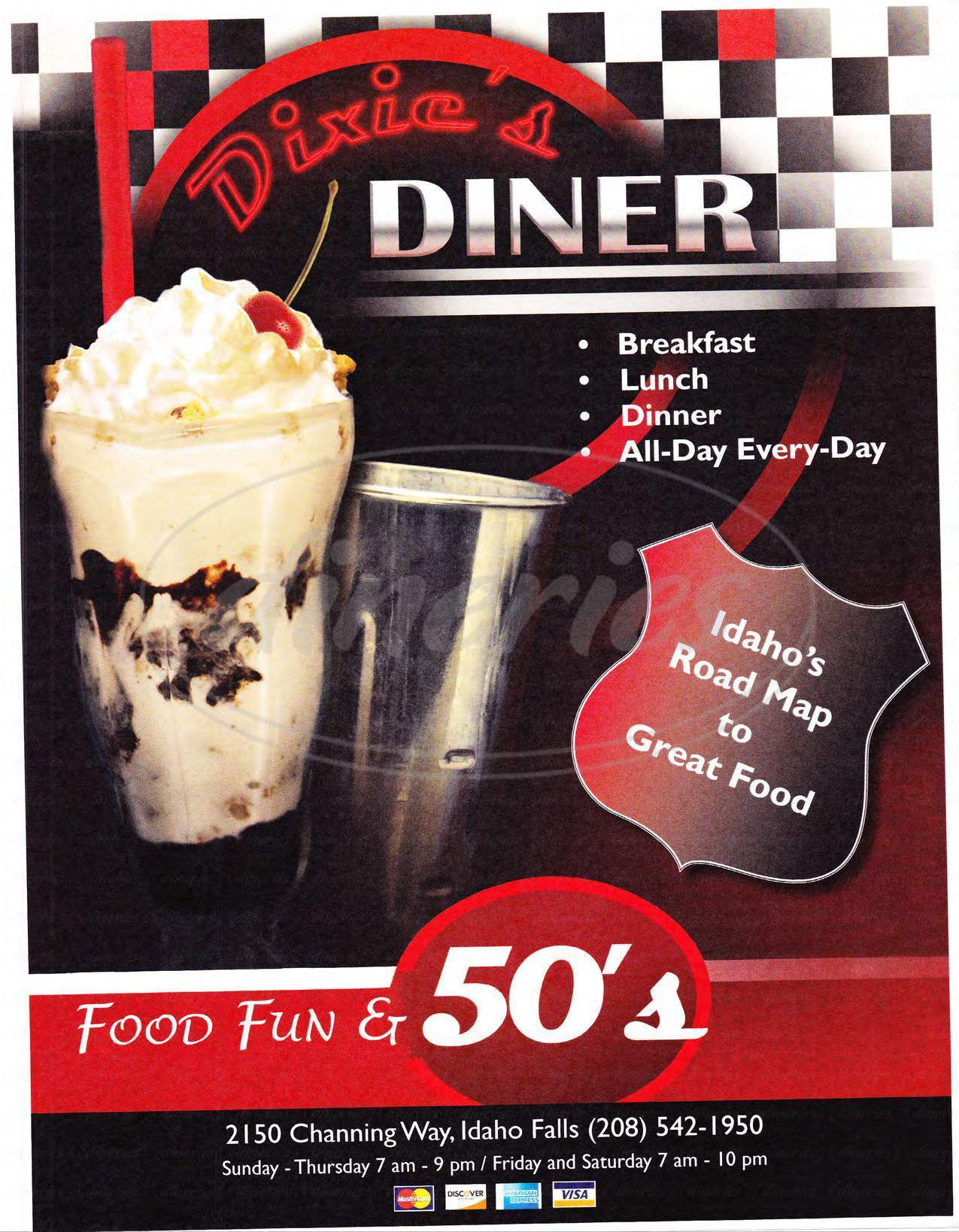 menu for Dixie's Diner