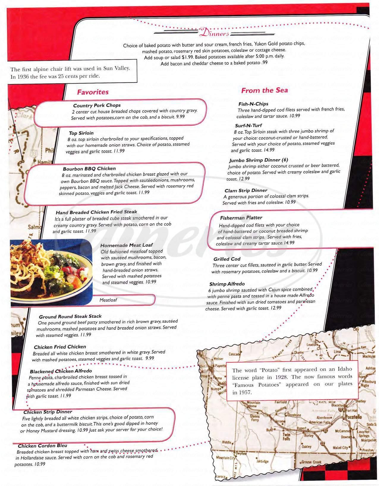 menu for Dixie's Diner
