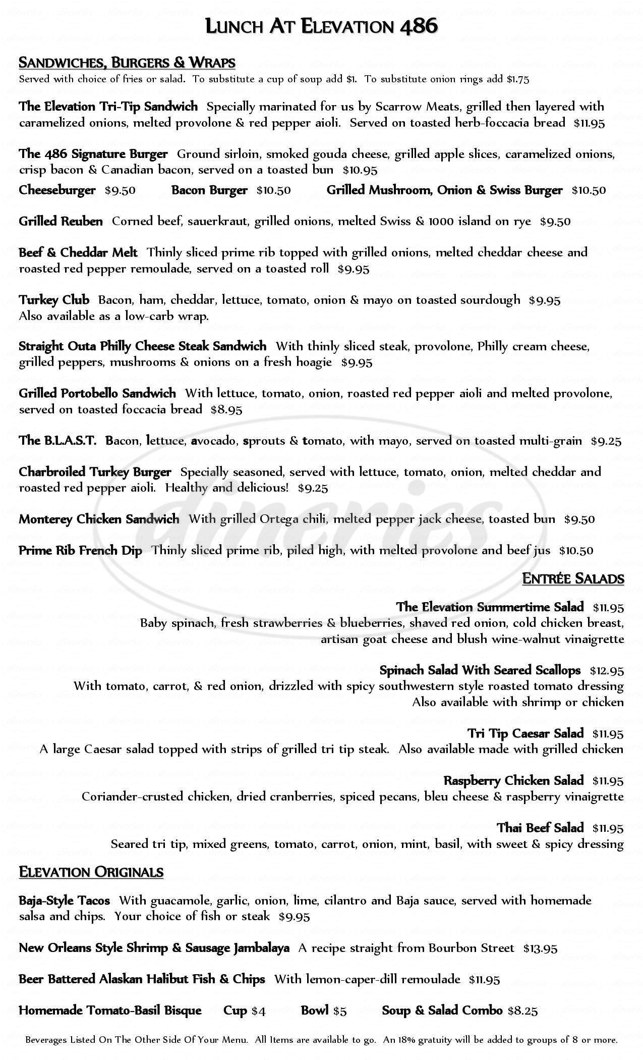 menu for Elevation 486