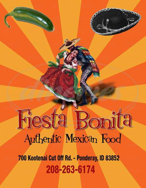 menu for Fiesta Bonita Mexican Restaurant