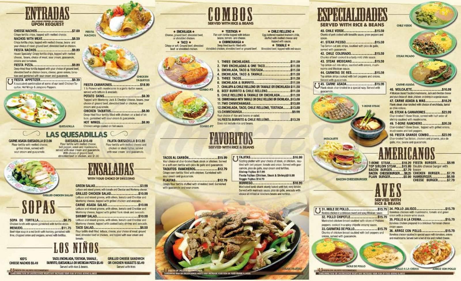 menu for Fiesta El Jalisco