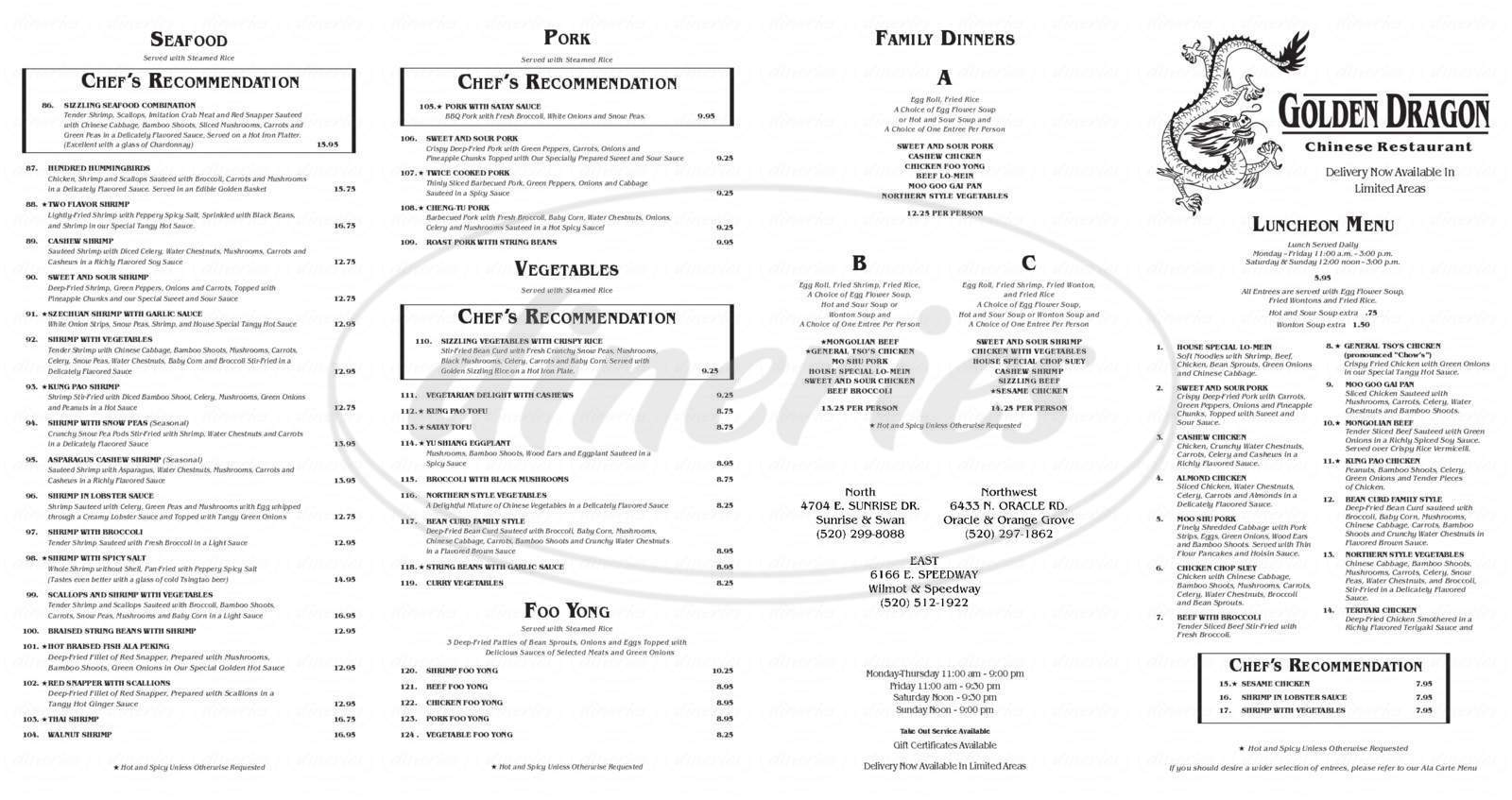 menu for Golden Dragon Restaurant the