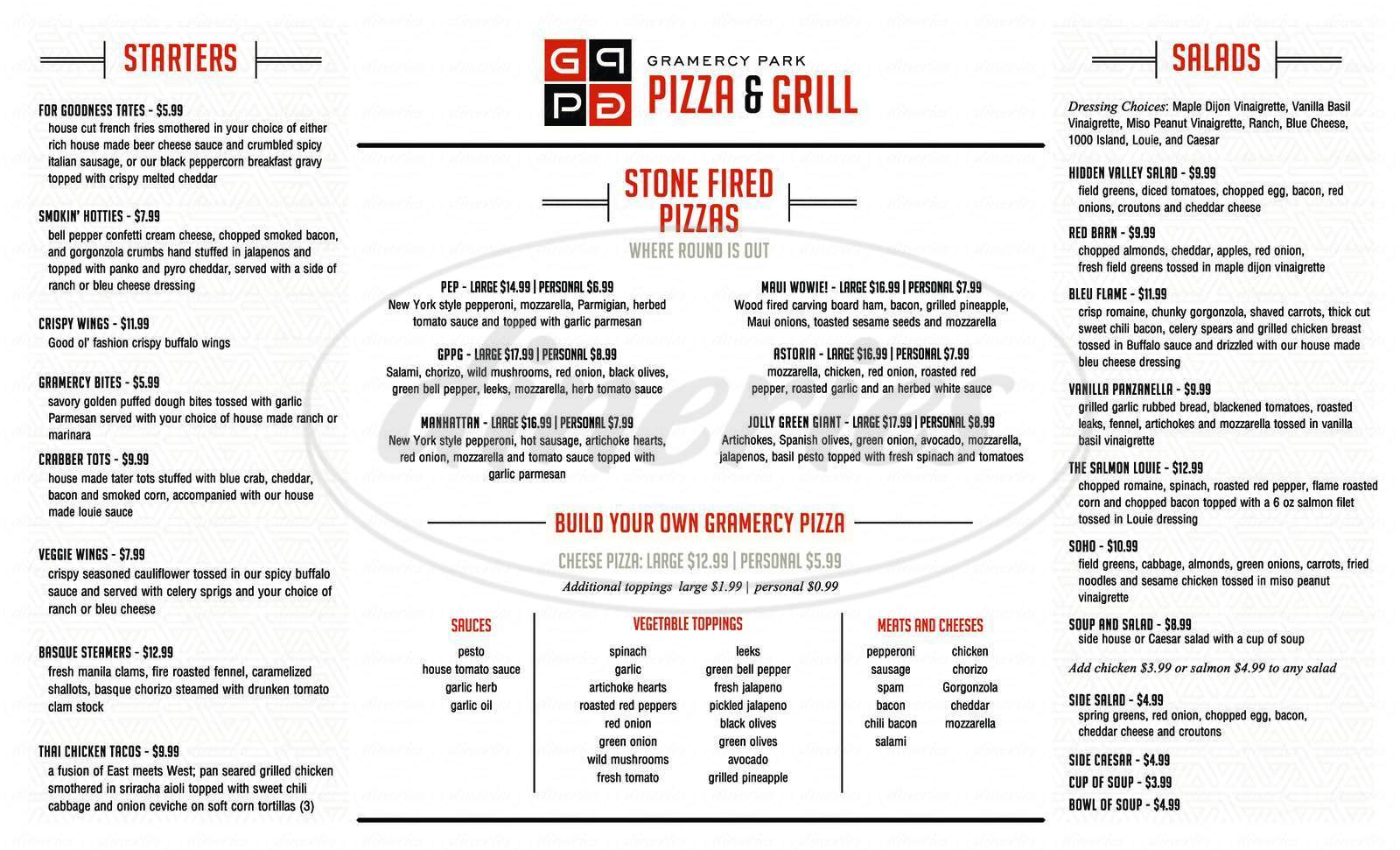menu for Gramercy Park Pizza & Grill