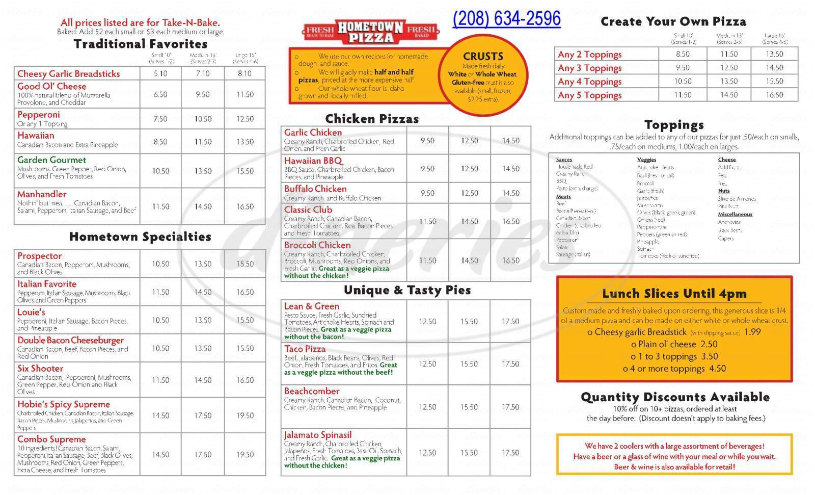 menu for Hometown Pizza