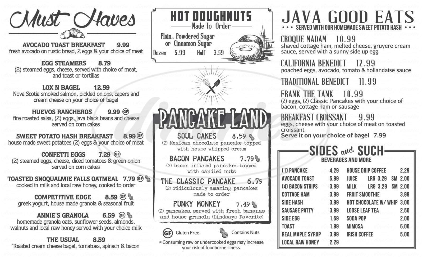 menu for Java On Sherman