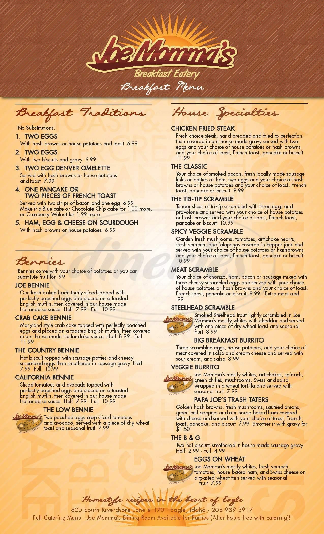 menu for Joe Momma's Breakfast Eatery