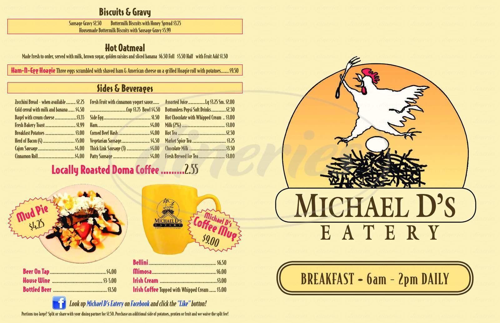 menu for Michael D's Eatery