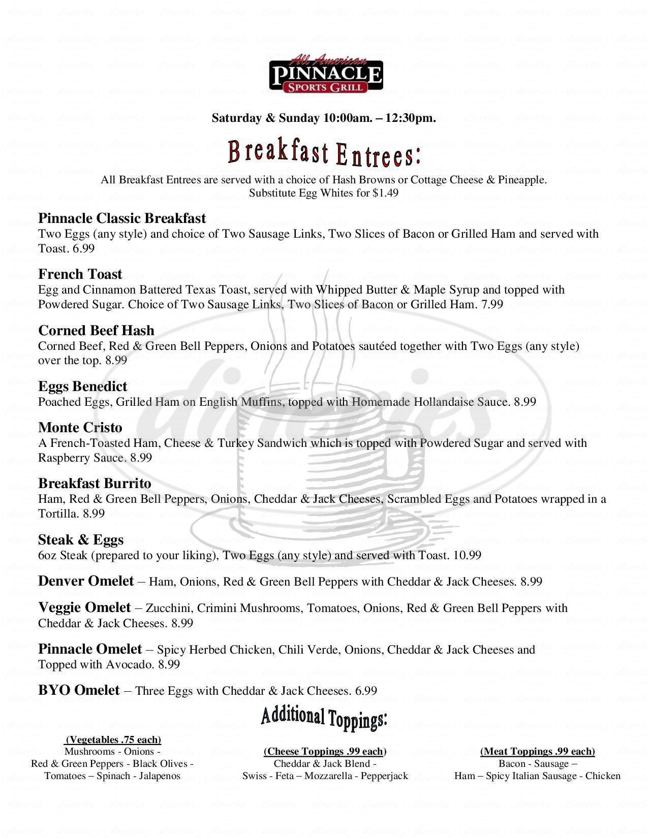 menu for Pinnacle Sports Bar & Grill