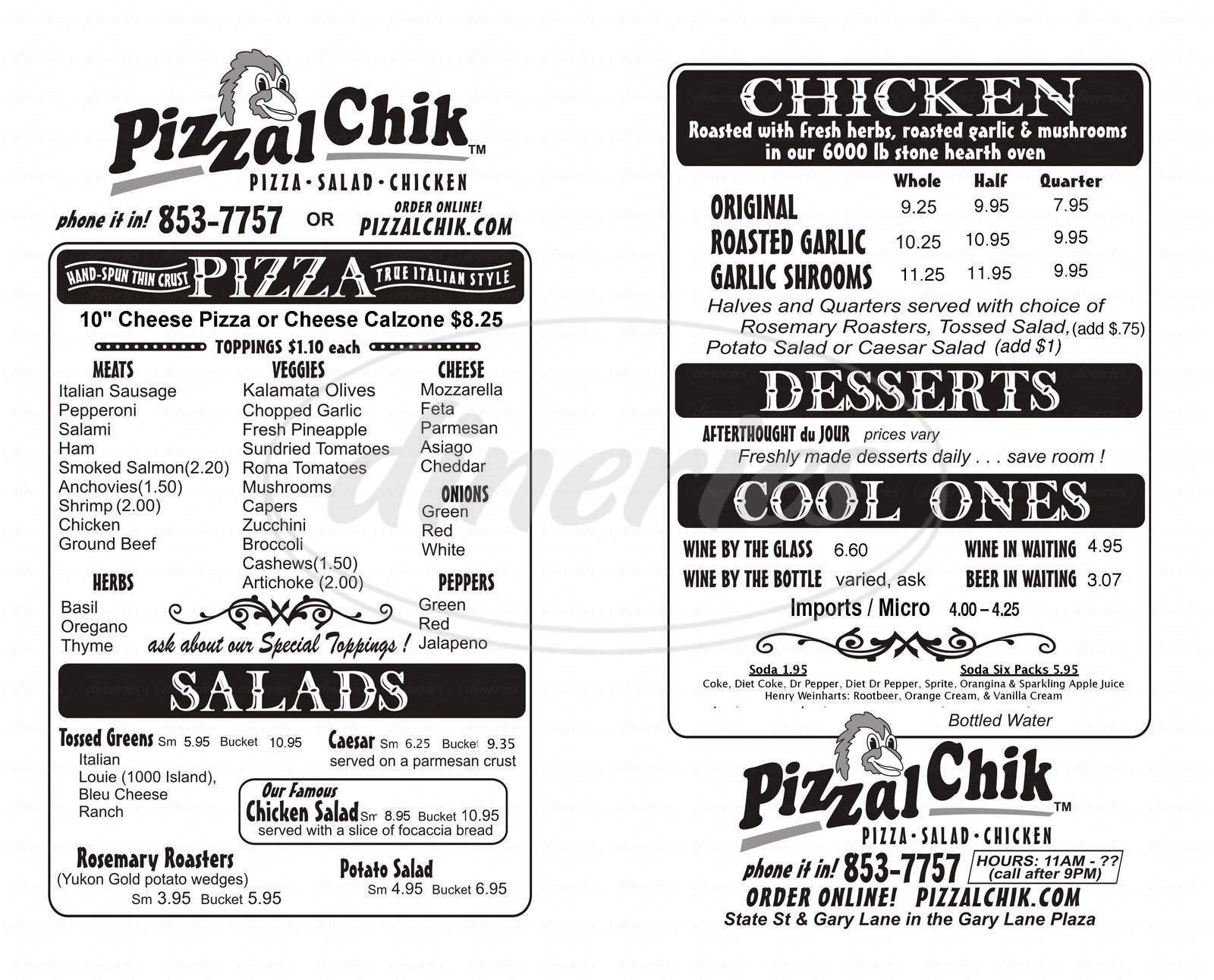menu for PizzalChik