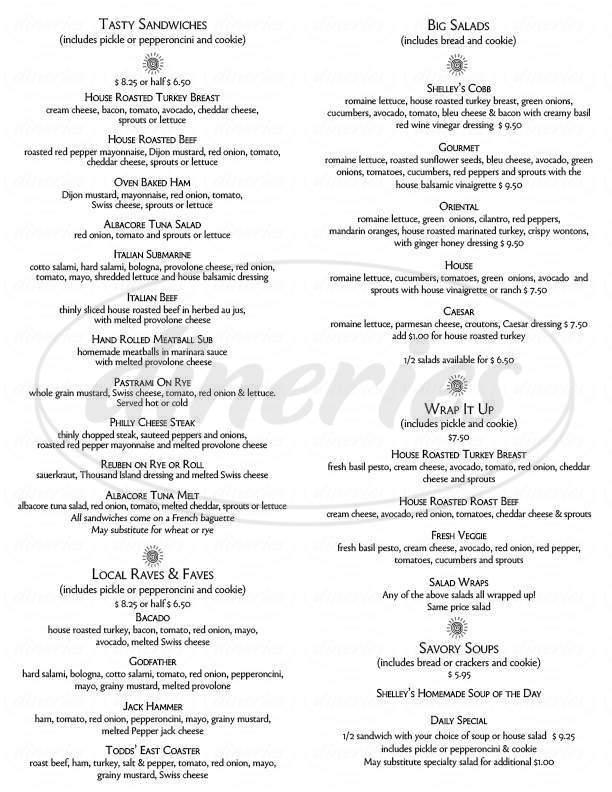 menu for Shelley's Deli