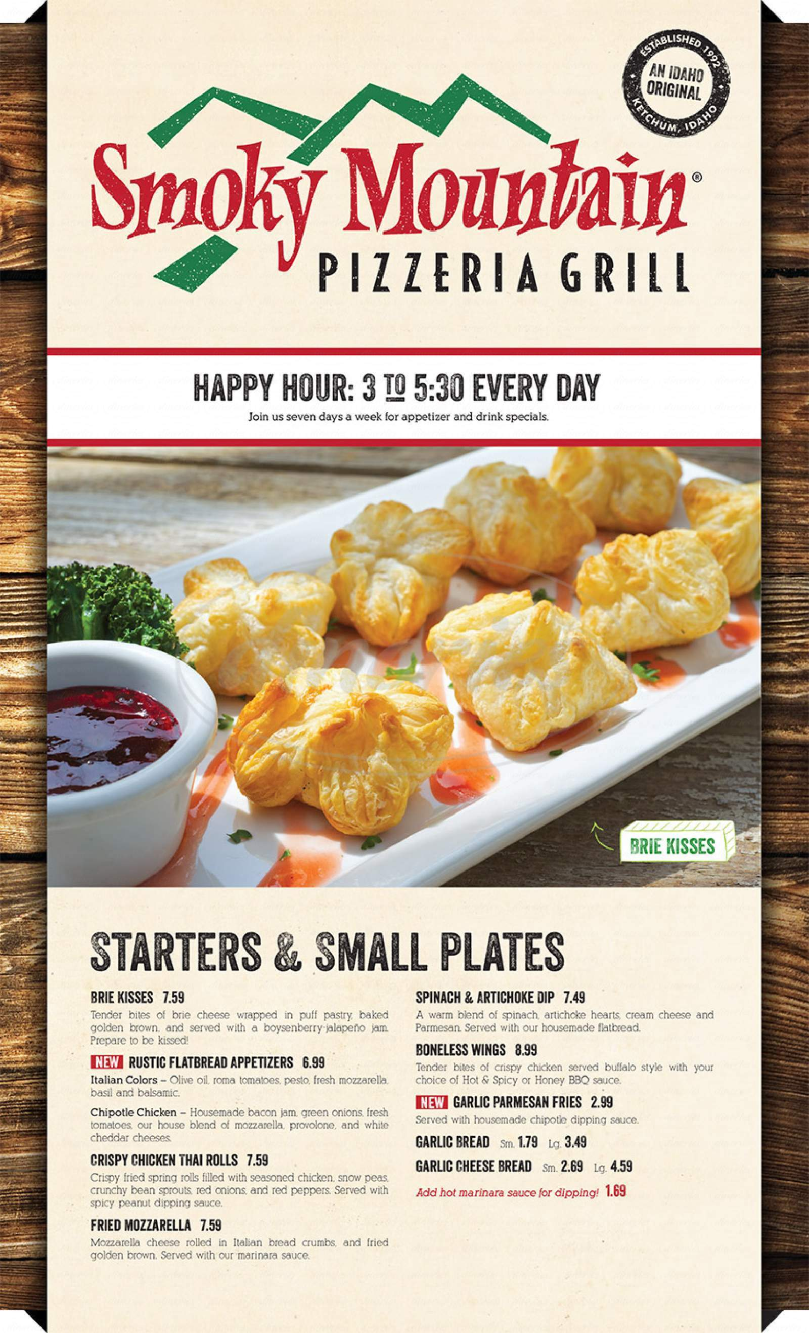 menu for Smoky Mountain Pizzeria Grill