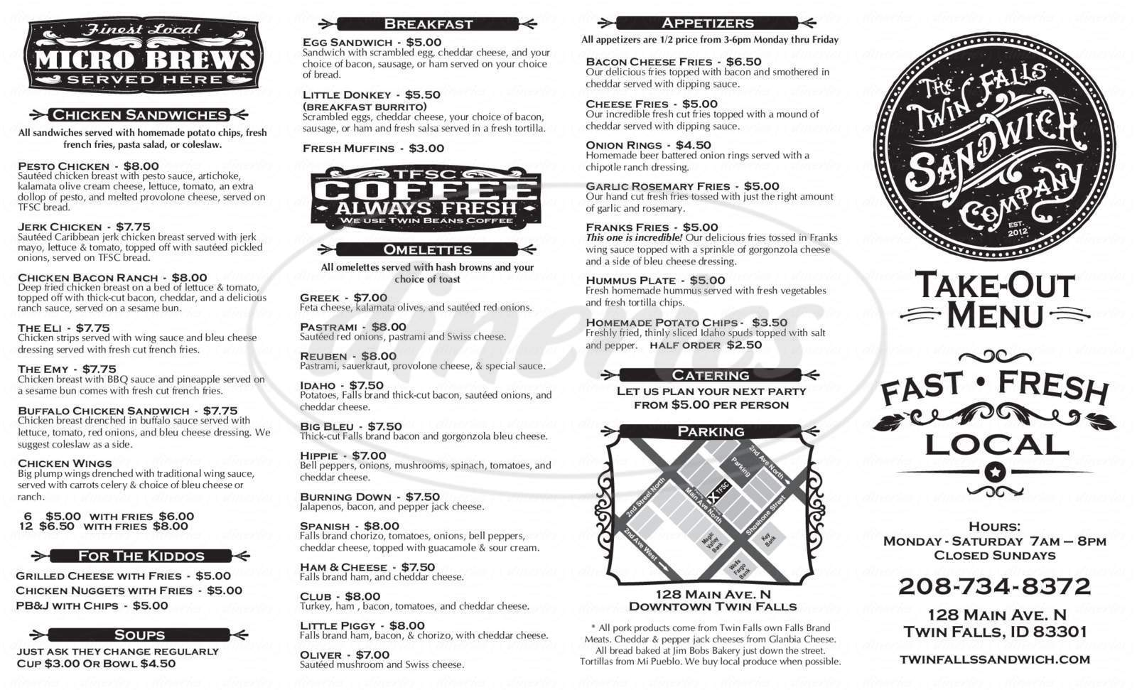 menu for The Twin Falls Sandwich Company