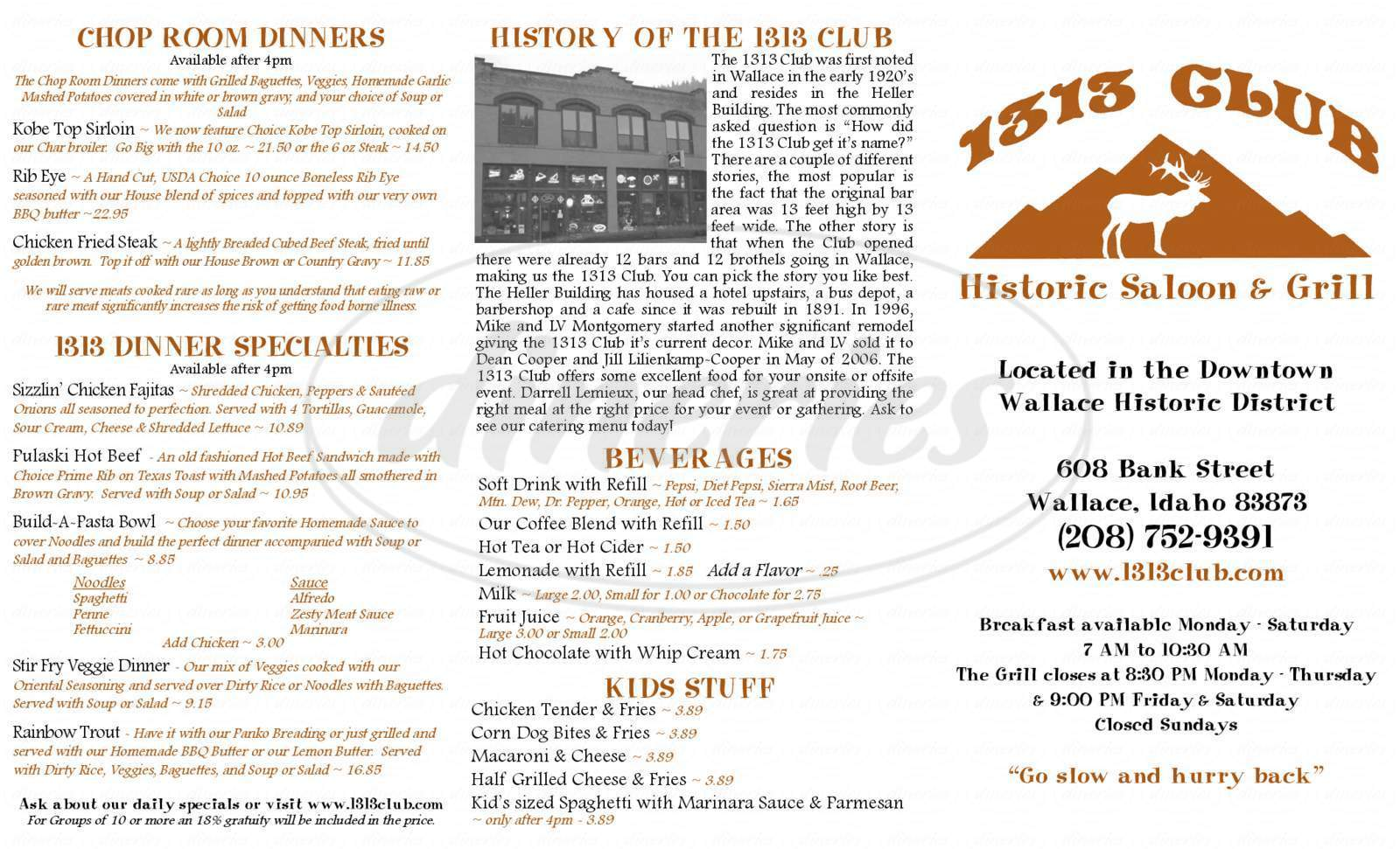 menu for 1313 Club