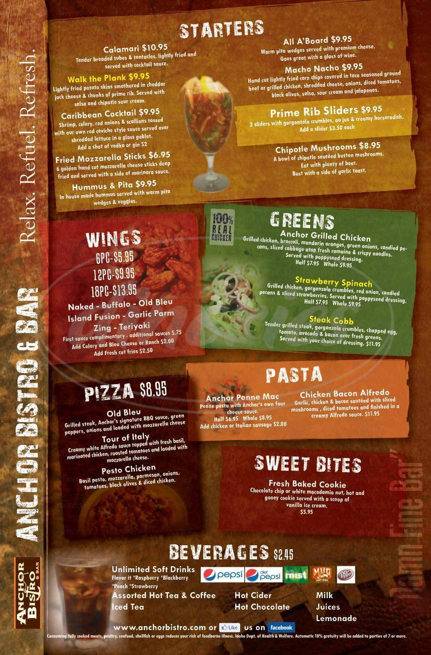menu for Anchor Bistro and Bar