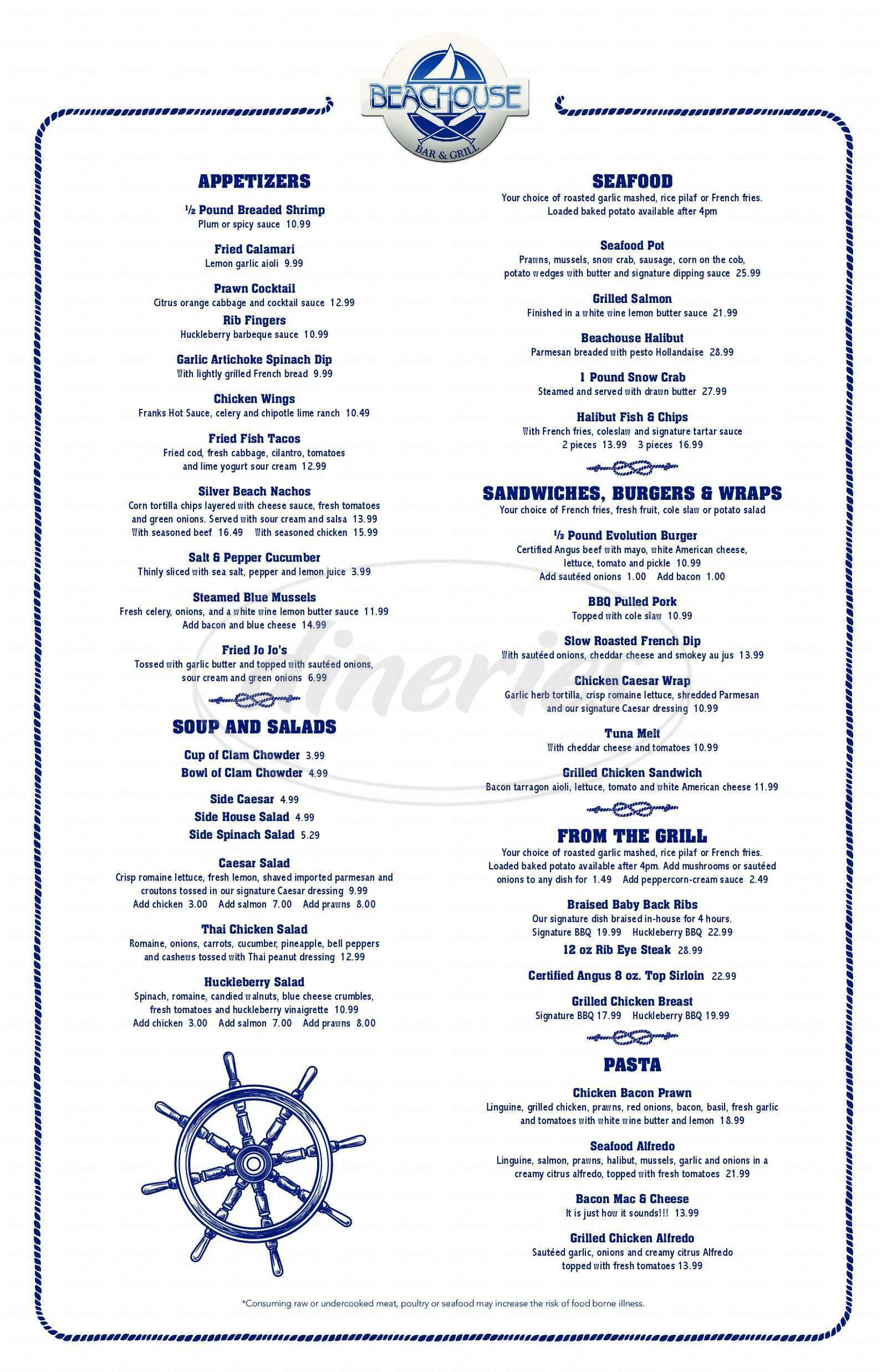 menu for Beachouse Bar & Grill