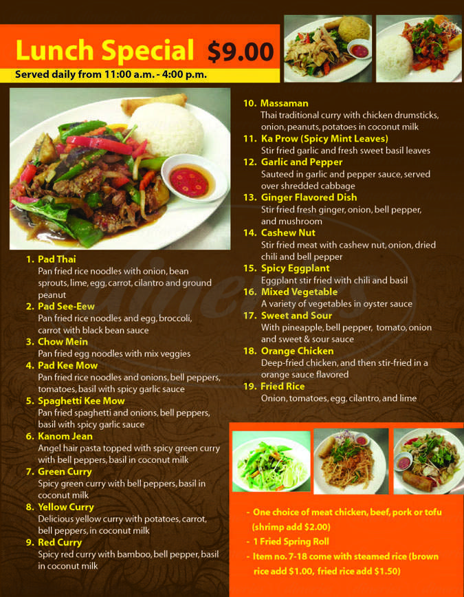 menu for Bangkok Kitchen