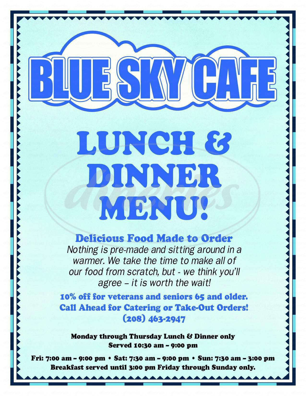 menu for Blue Sky Cafe