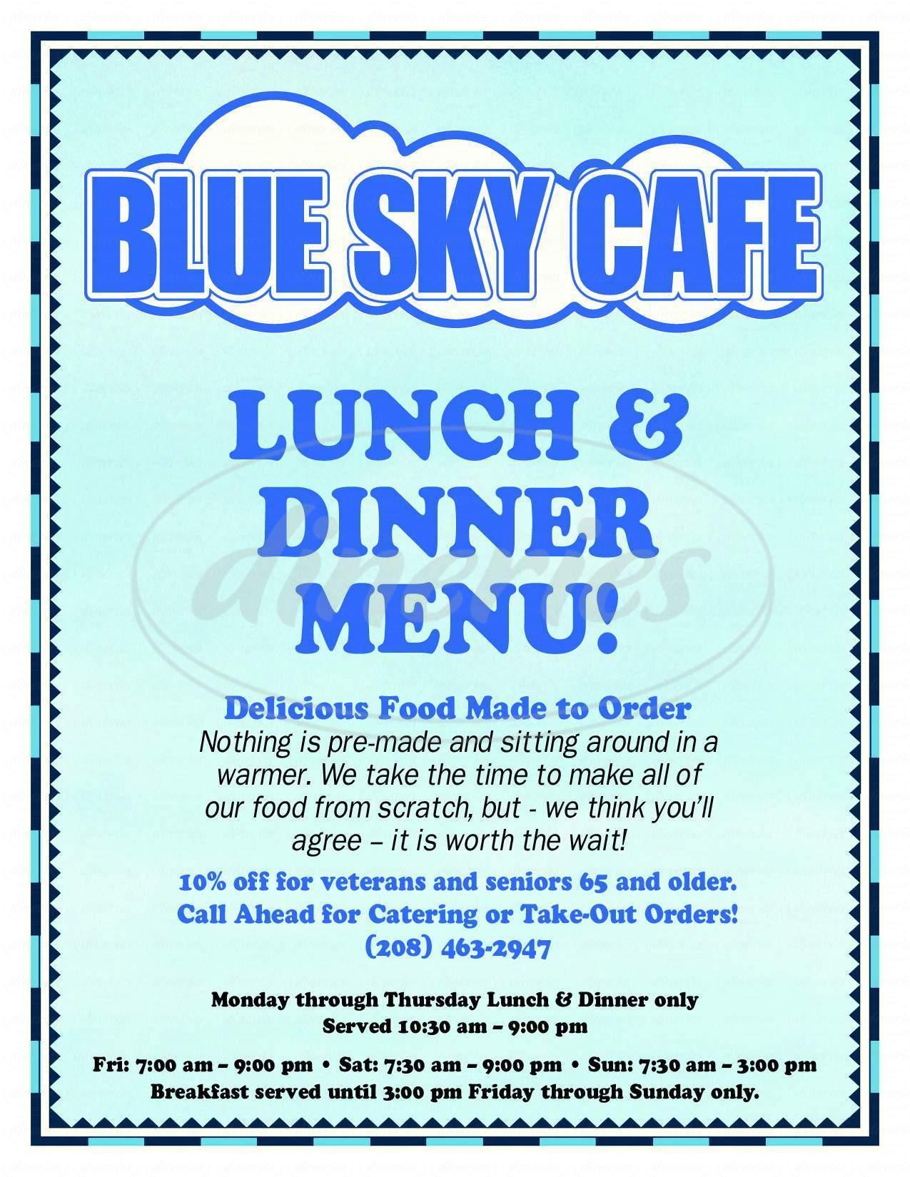 menu for Blue Sky Cafe