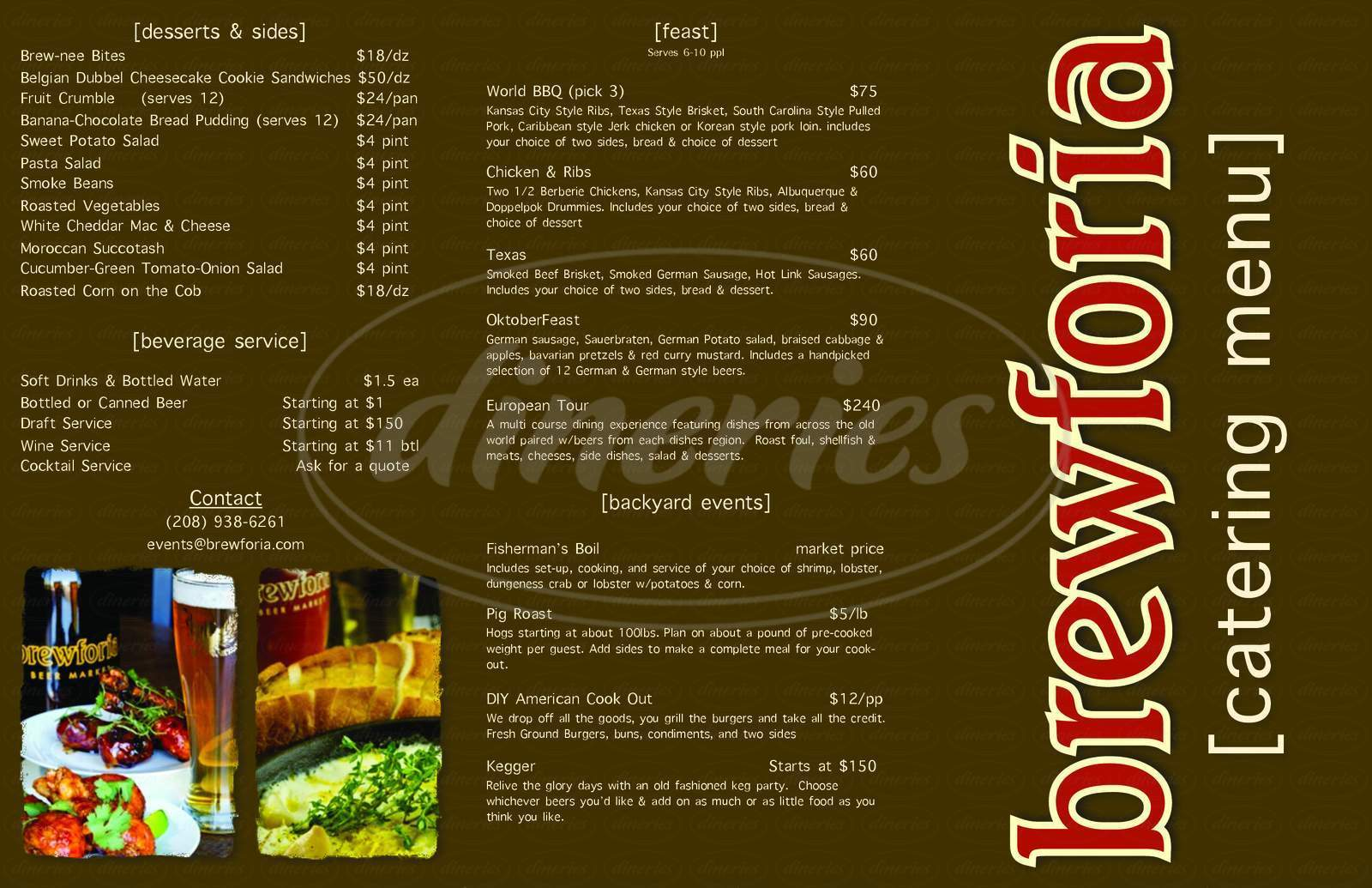 menu for Brewforia Beer Market