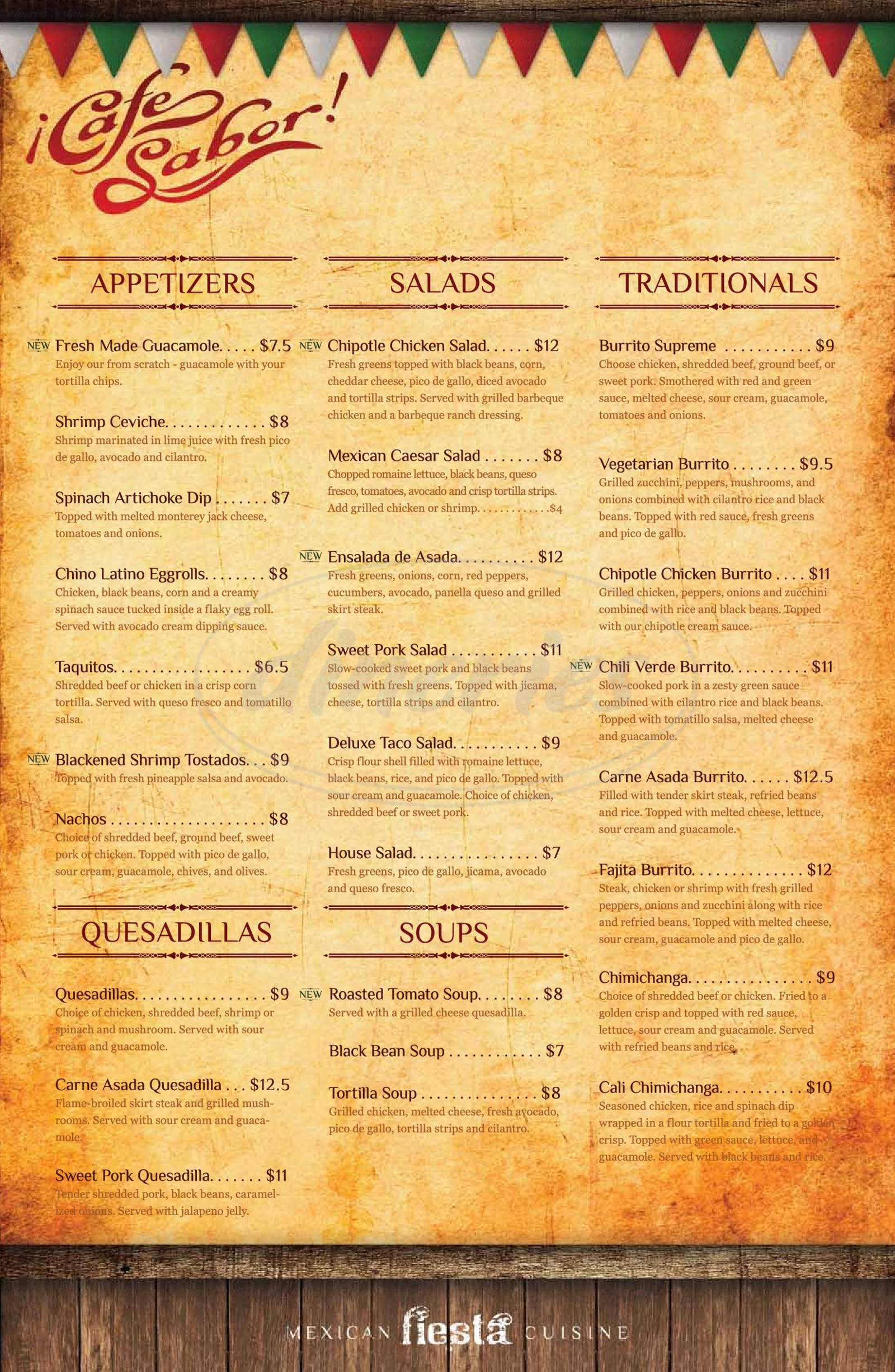 menu for Cafe Sabor
