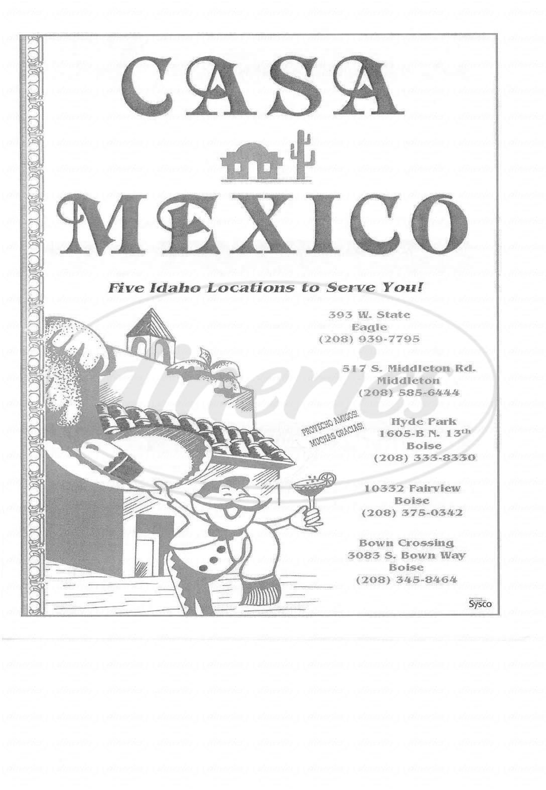 menu for Casa Mexico