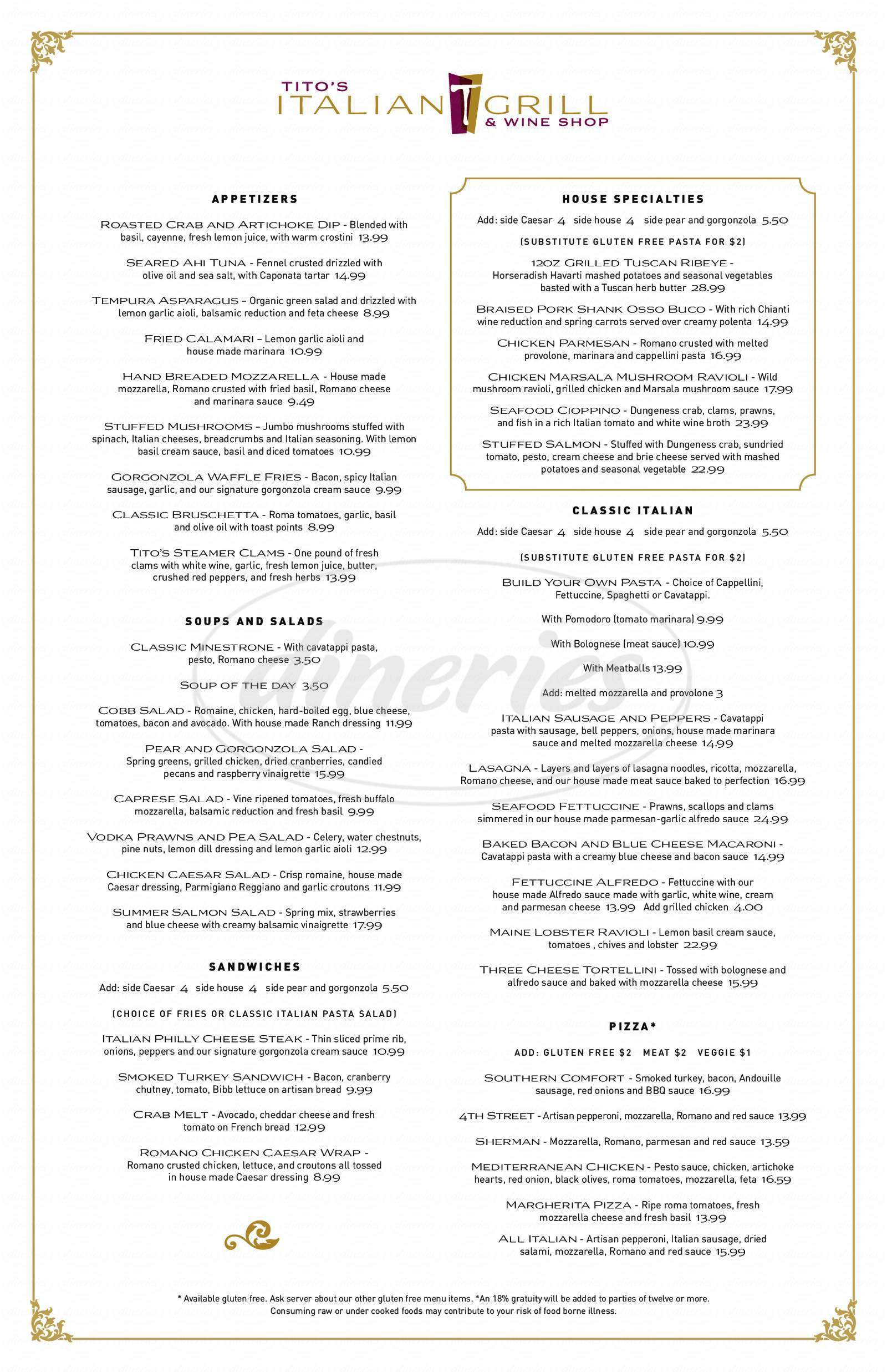 menu for Tito's Italian Grill & Wine Shop