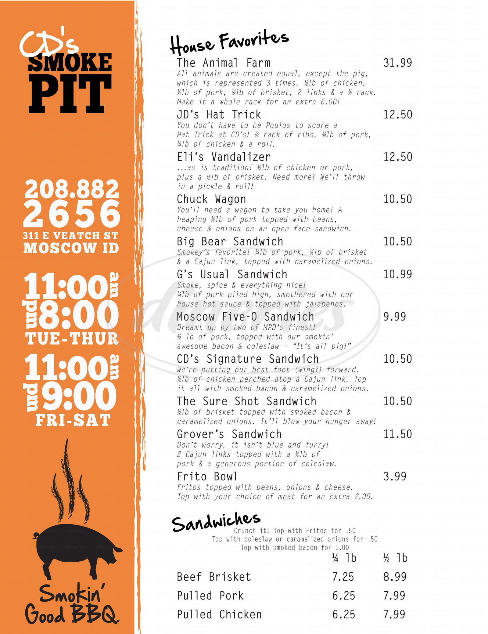 menu for CD's Smoke Pit